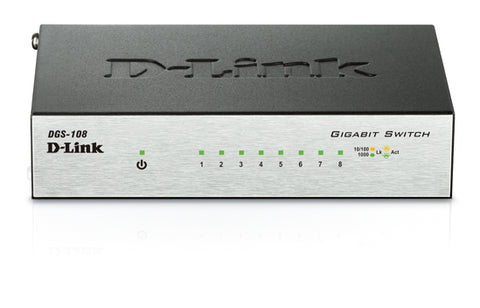 D-Link Switch DGS-108 8-port Gigabit (Metal Housing) Desktop