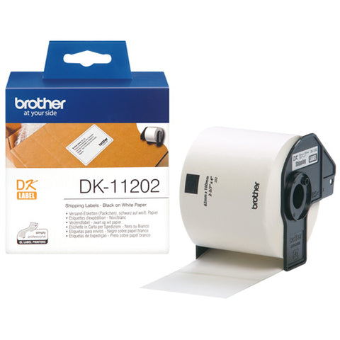 Brother DK-11202 Labels  62x100mm (x300) White Paper Die Cut