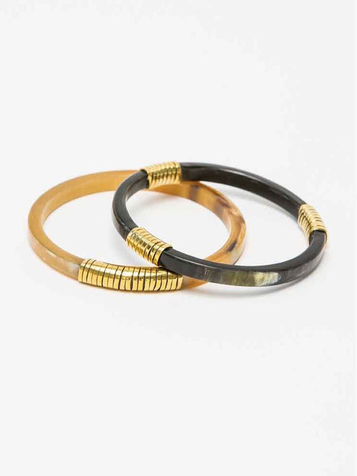 Horn and Brass Bangle Set