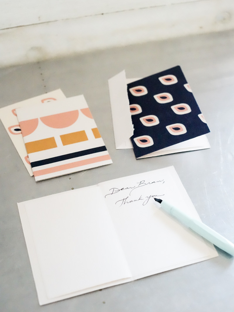 Notecards in Scallop + Avo Print