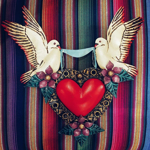 Mexican Tin Heart With 2 Doves