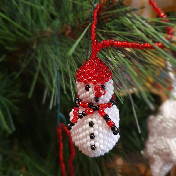 Beaded Snowman Christmas Decoration