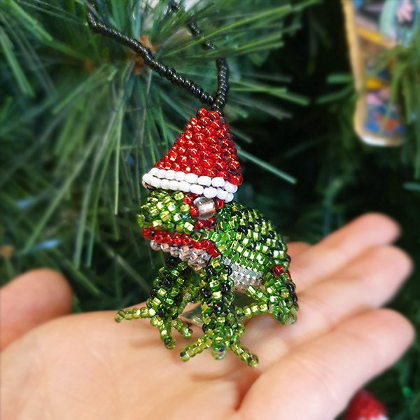 Beaded Frog Christmas Decoration - Origen Imports