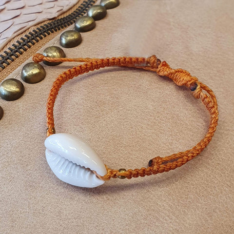 Handmade Macrame  Natural Cowrie Shell Bracelet By Origen - Orange - Origen Imports