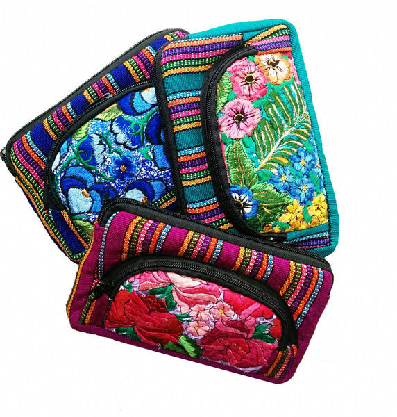 Guatemalan Floral Cosmetic Purse Double Medium - Origen Imports
