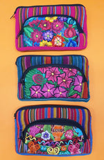 Guatemalan Floral Cosmetic Purse Double - Large