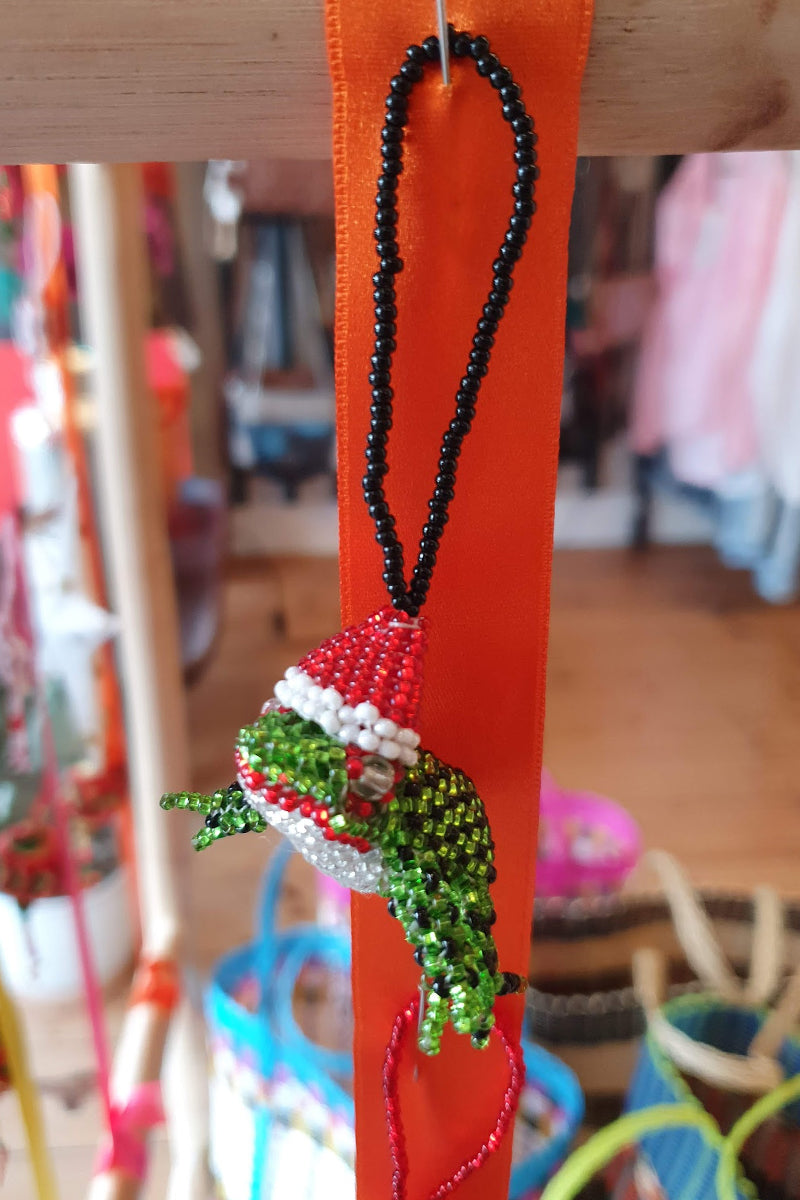 Beaded Frog Christmas Decoration