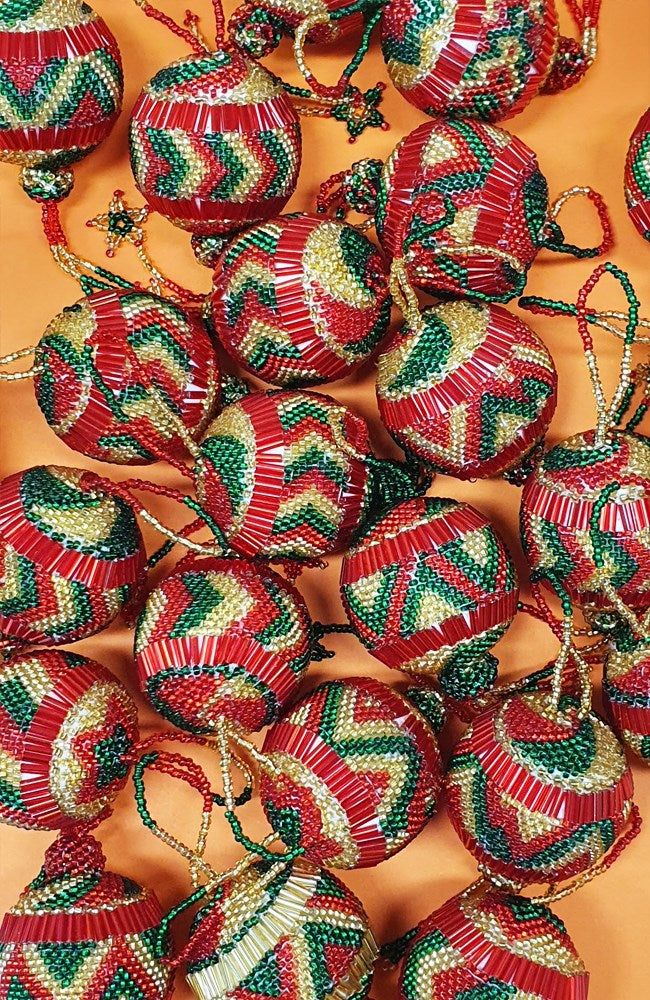 Guatemalan Hand Beaded Christmas Bauble