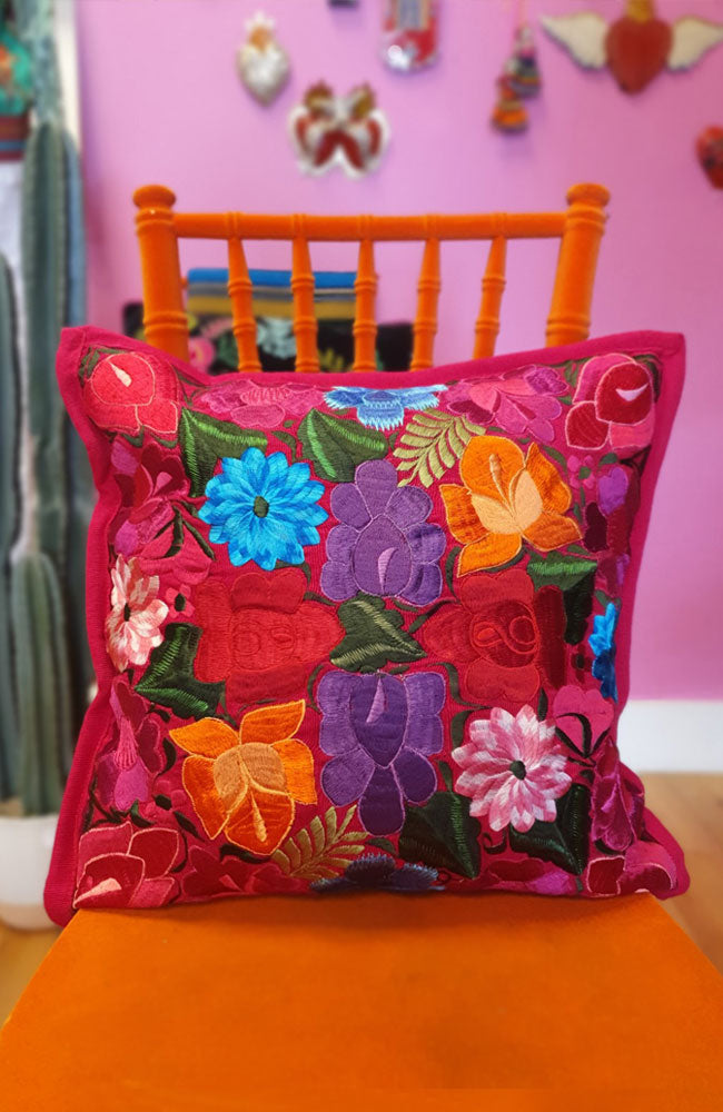 Floral Embroidery Guatemalan Cushion
