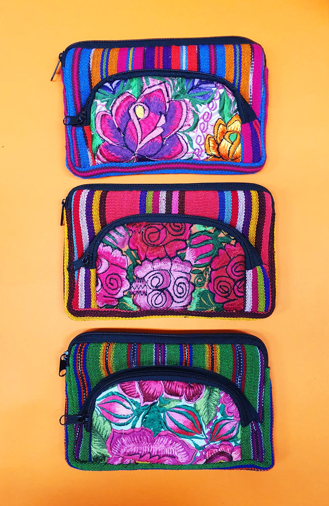 Guatemalan Floral Cosmetic Purse Double Medium