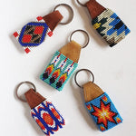 Hand Beaded Key Ring With Leather - Origen Imports