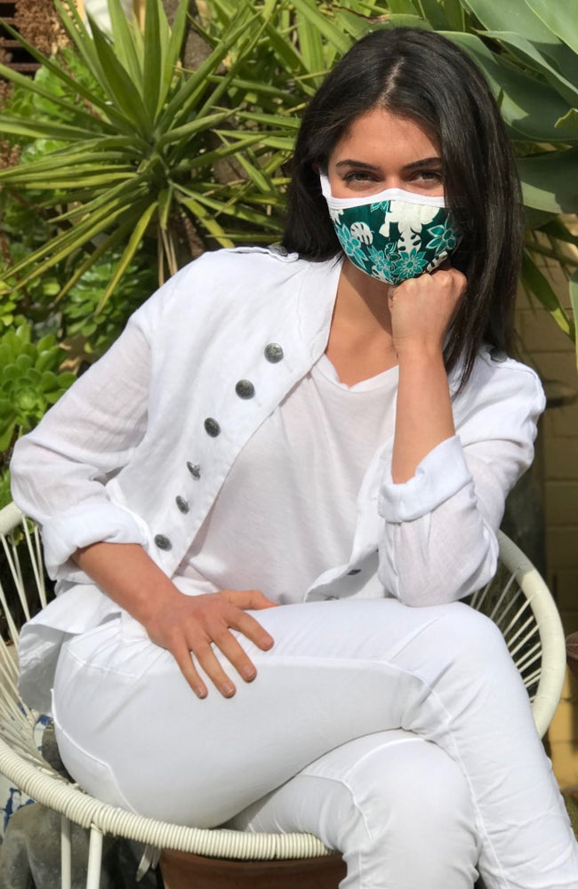 Reusable Face Mask Tropical Print Emerald