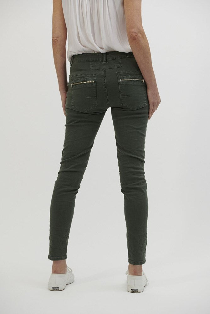 Italian Star Button Jeans - Military