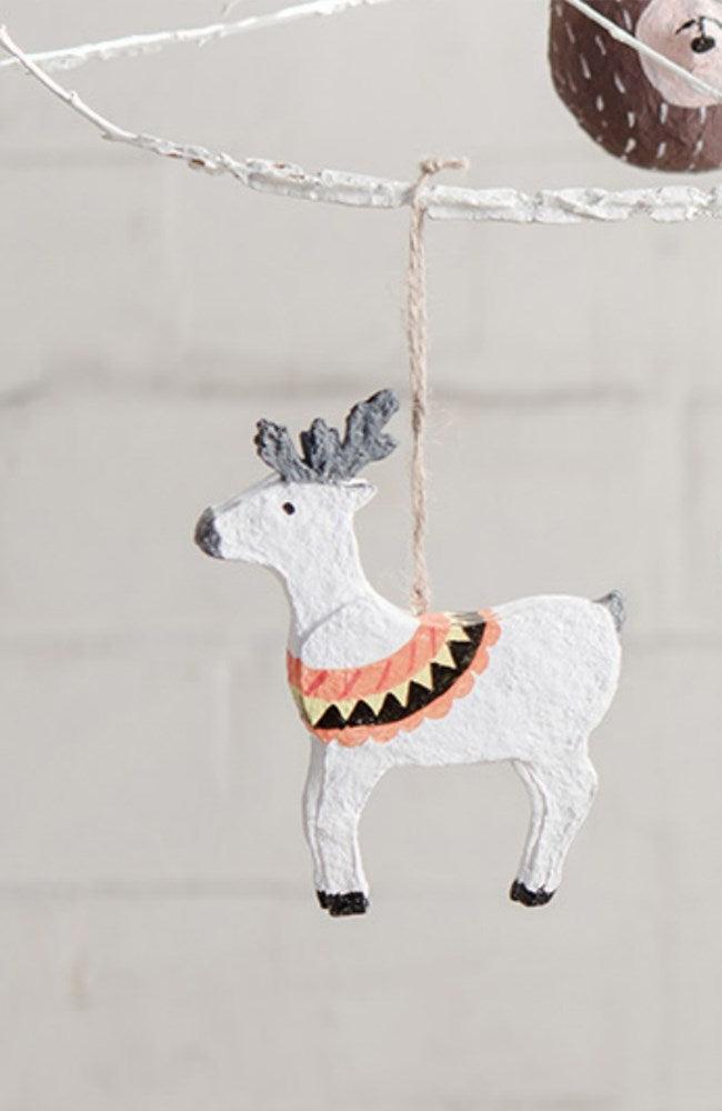 Reindeer Papier Mache Christmas Decoration