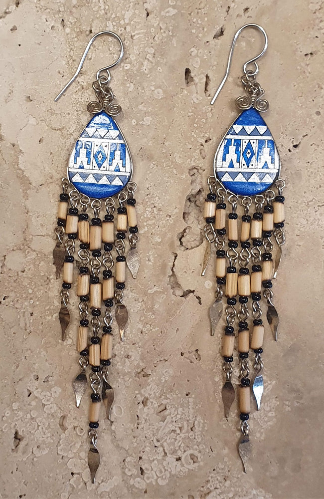Peruvian Earrings With Bamboo Fringe - Blue diamond
