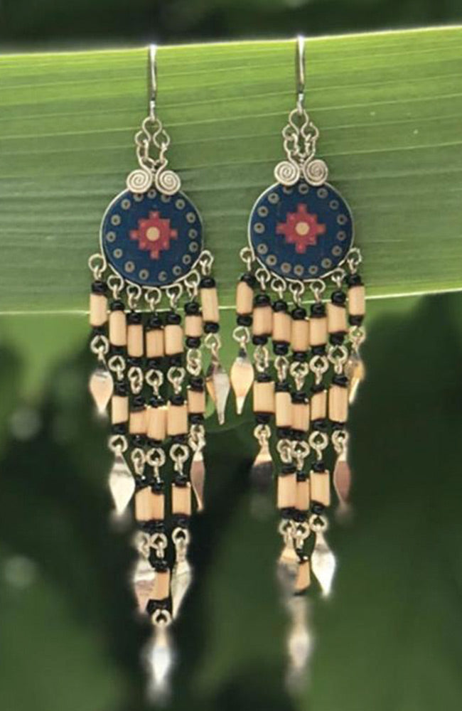 Peruvian Colours of The South West with Bamboo Dangles By Origen - Navy