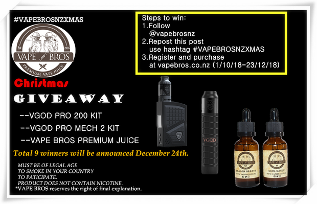 Christmas Giveaway - Vapebroslimited