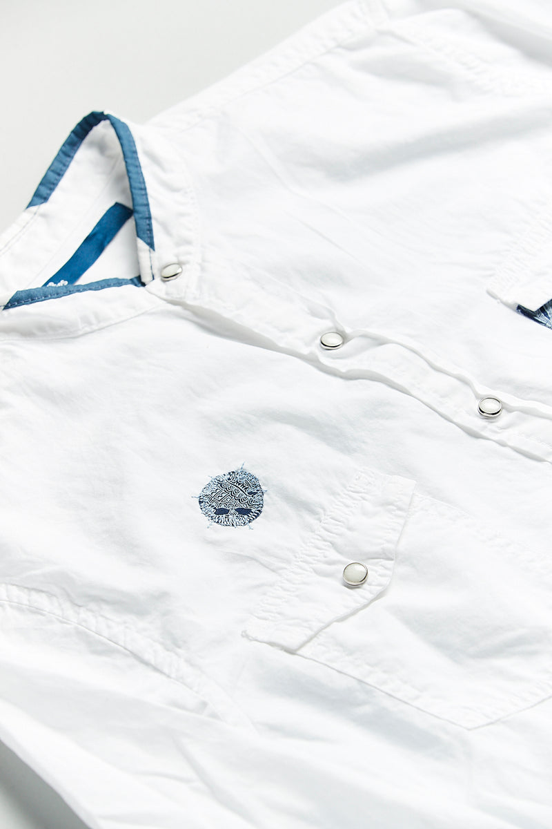 Blue on White Nehru Shirt