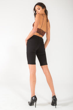 Jade Black Mid Rise Bermuda Shorts - Official Kancan USA