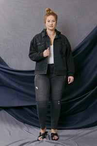 Tori Hooded Boyfriend Denim Jacket- Plus - Official Kancan USA