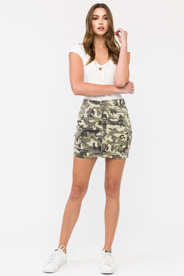 O.Camo Mid Rise Cargo Mini Skirt - Official Kancan USA