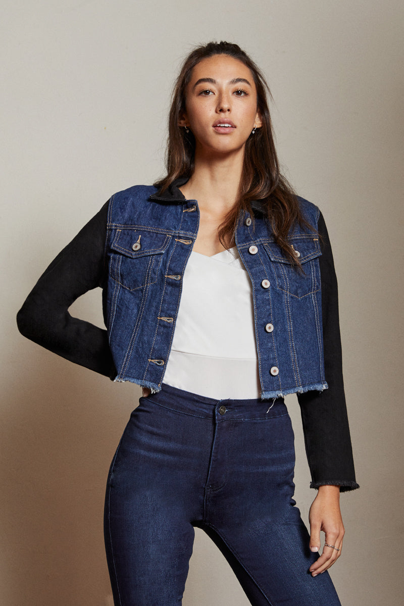 Visto Cropped Two-Tone Jacket - Official Kancan USA