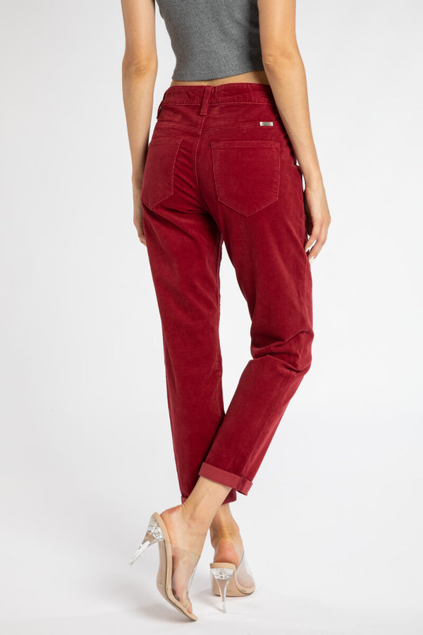 Grace High Rise Corduroy Mom Jeans - Official Kancan USA