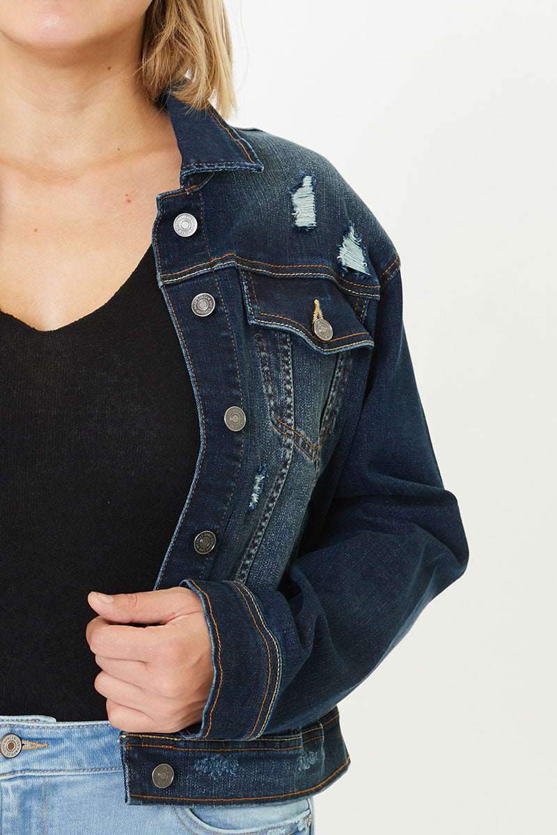 Torrance Distressed Denim Jacket - Plus - Official Kancan USA