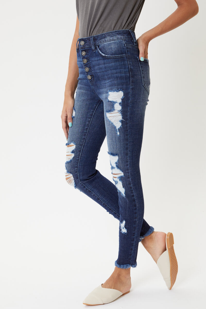 Gallagher High Rise Button-Up Ankle Skinny - Official Kancan USA