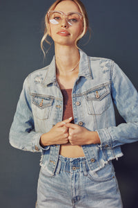Halston Distressed Crop Denim Jacket - Official Kancan USA