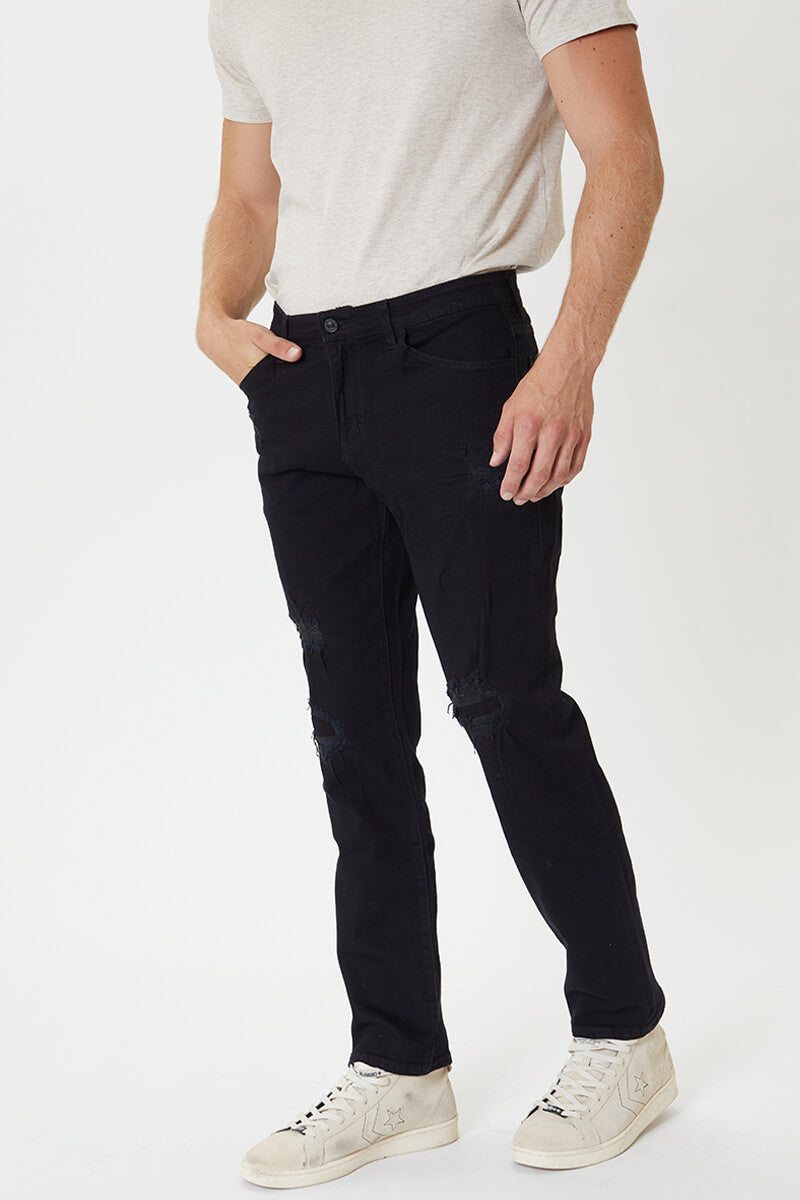Jeddie Black Distressed Slim Straight - Official Kancan USA
