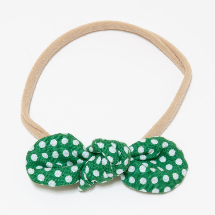 ANNA BABY ELASTIC LARGE BOW - GREEN DOT