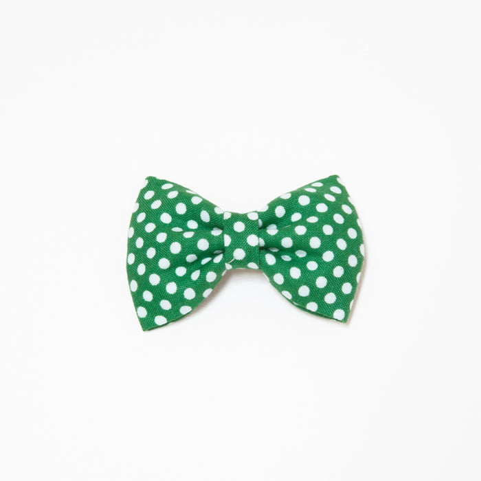 GEORGIE SINGLE BOW CLIP - GREEN DOT
