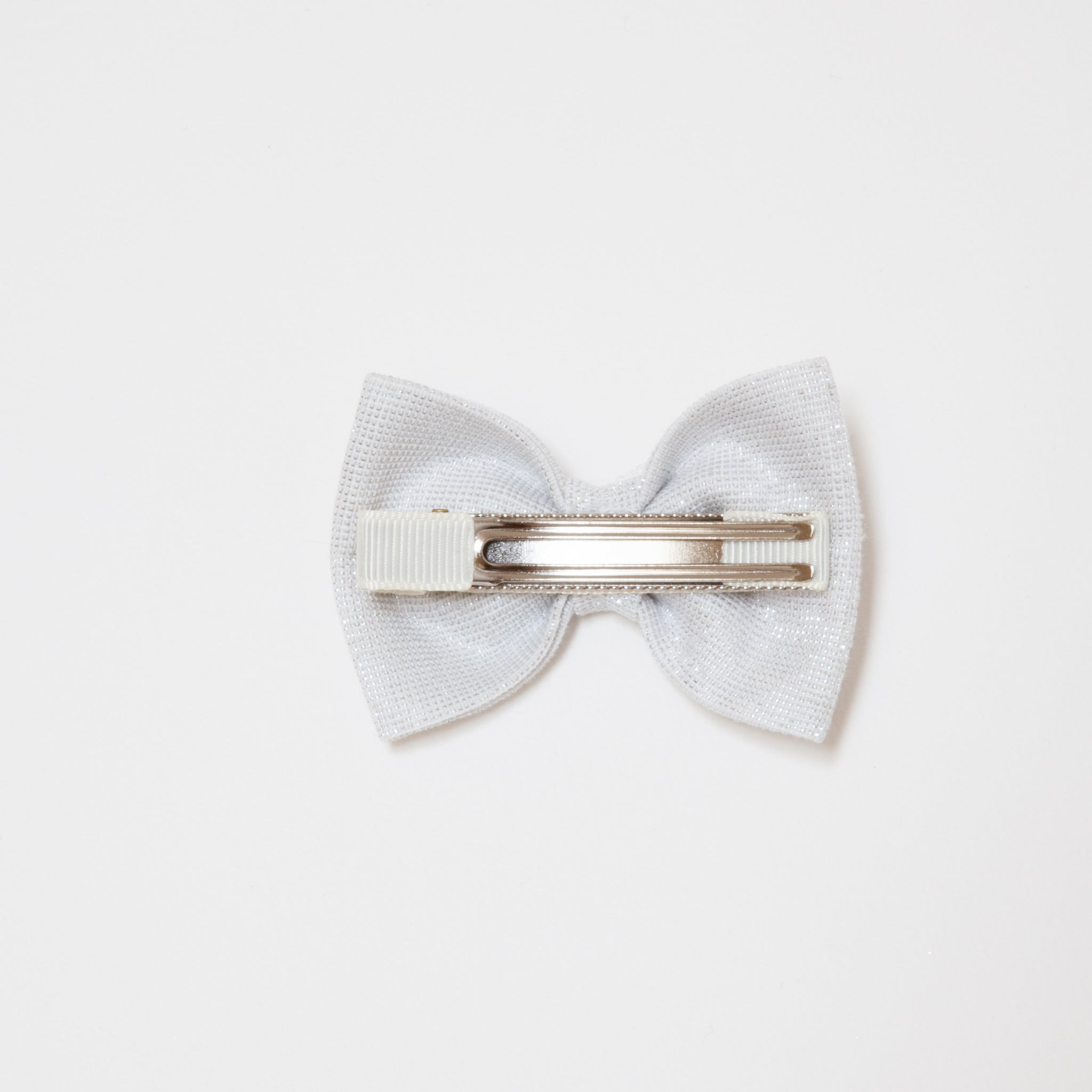 Georgie Single Bow Clip Silver Sparkles