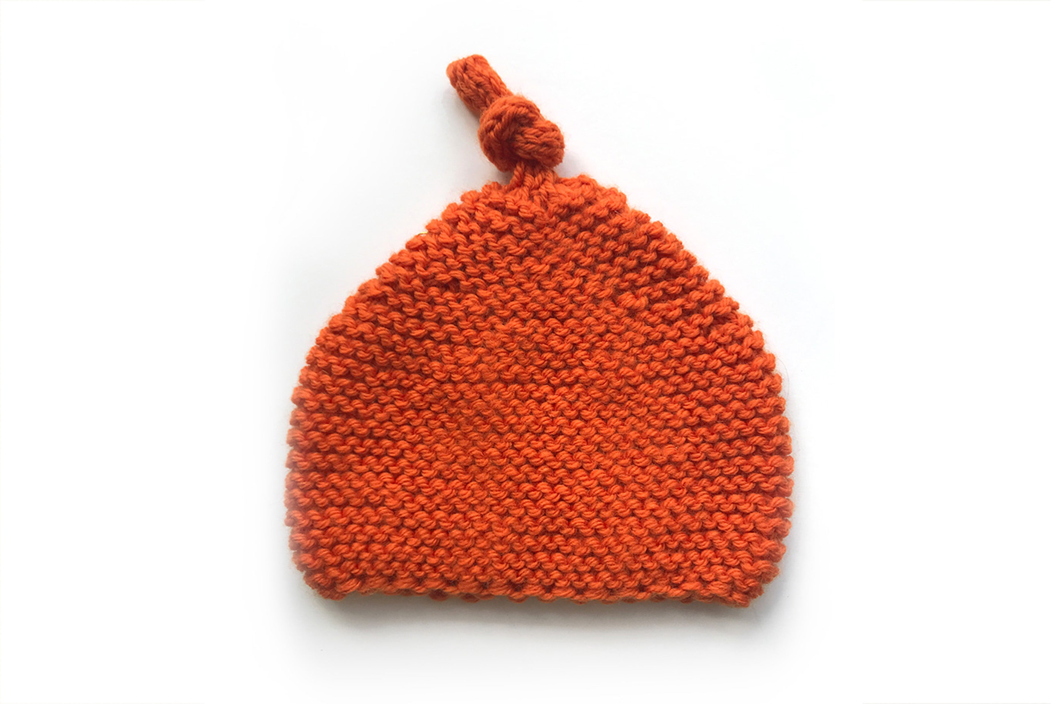 KNITTED BY NANA BEANIE - TANGERINE