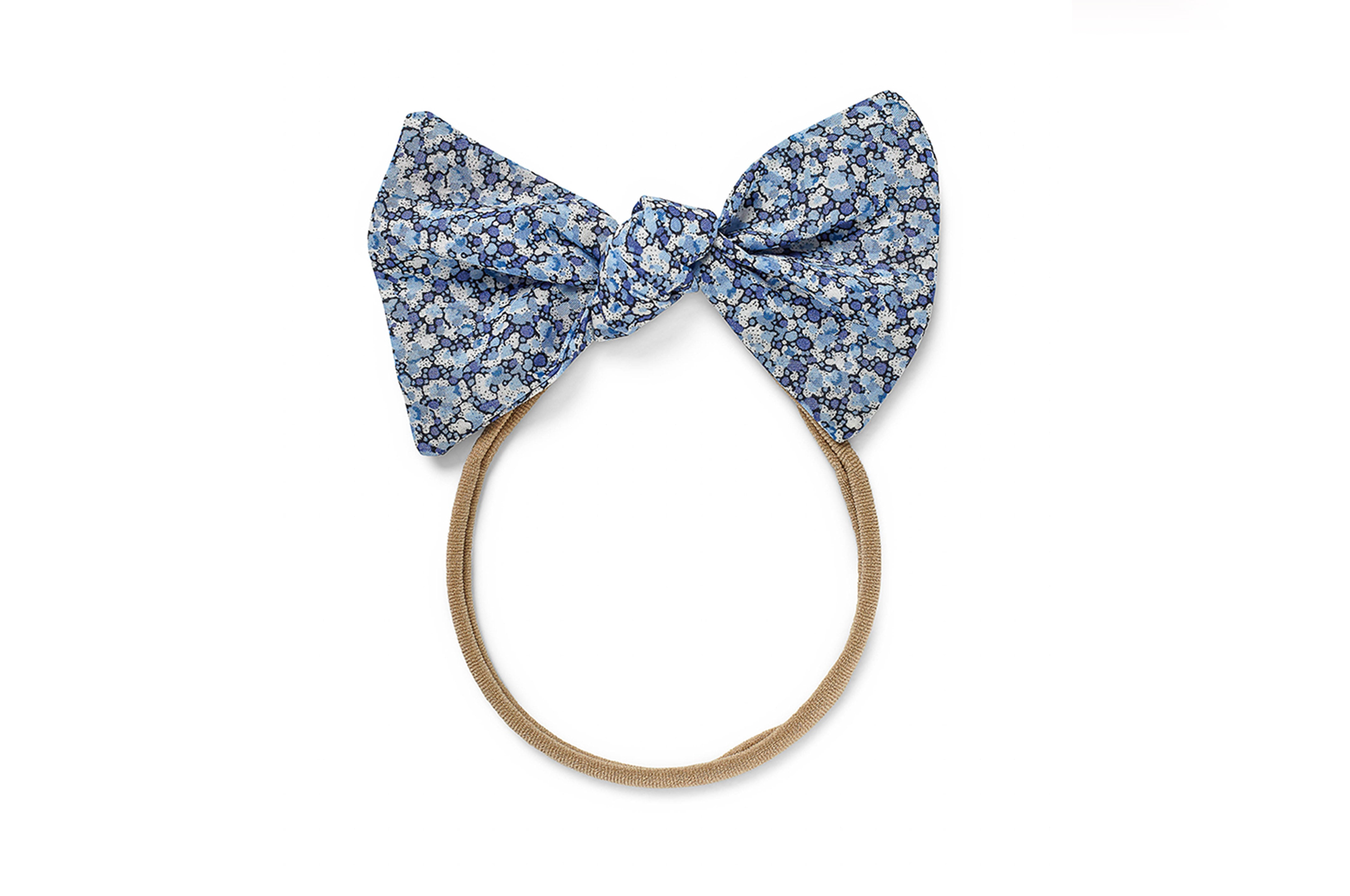 LUCILLE BABY ELASTIC LARGE BOW, BLUE PEPPER