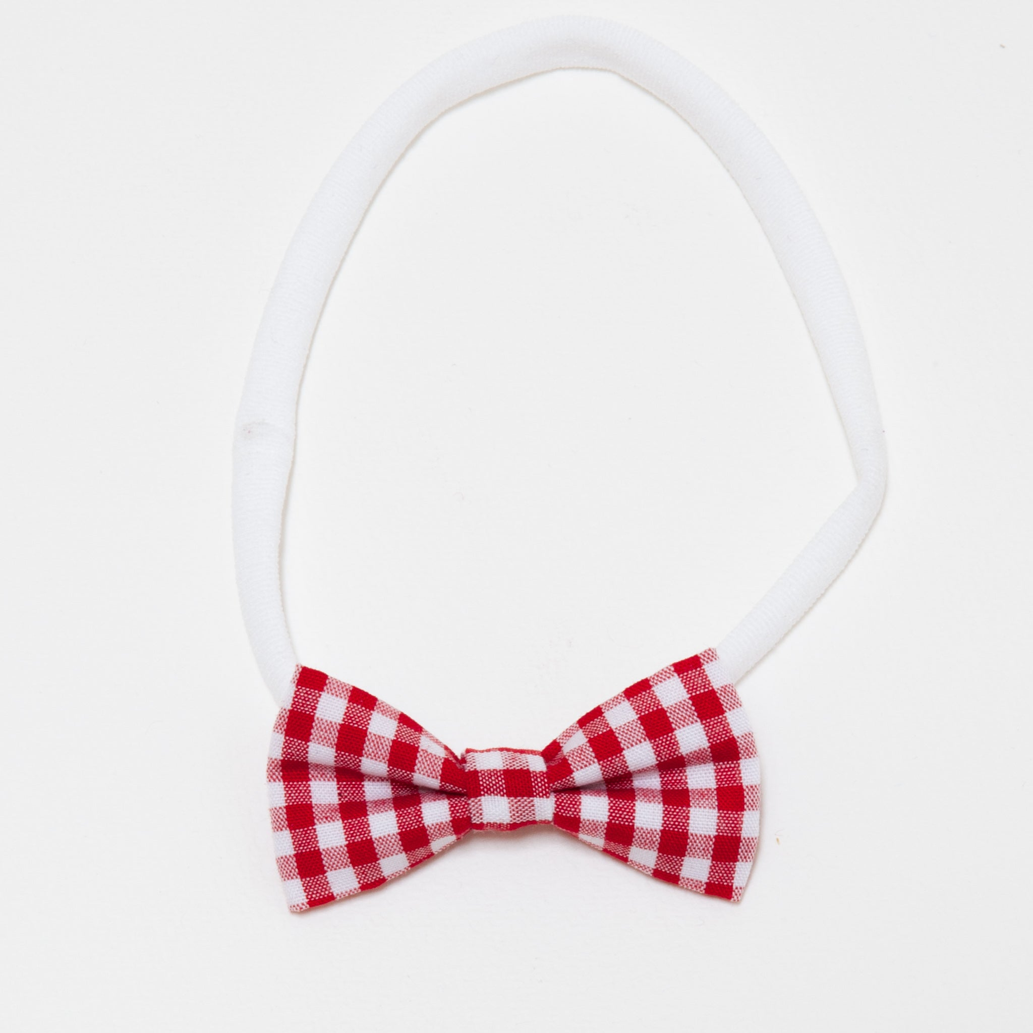 MINNIE BABY BOW ELASTIC-RED GINGHAM