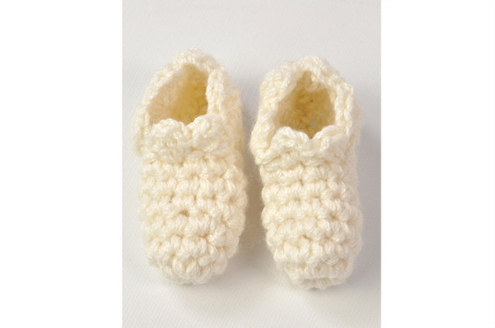 KNITTED BY NANA CROCHET BOOTIES - CREAM