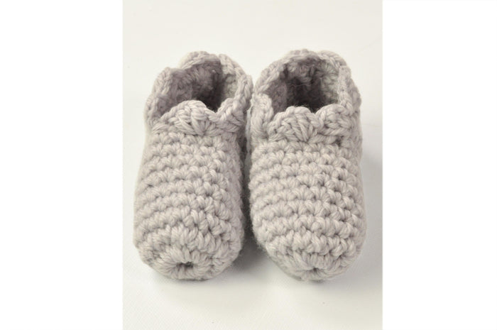 KNITTED BY NANA CROCHET BOOTIES - GHOST