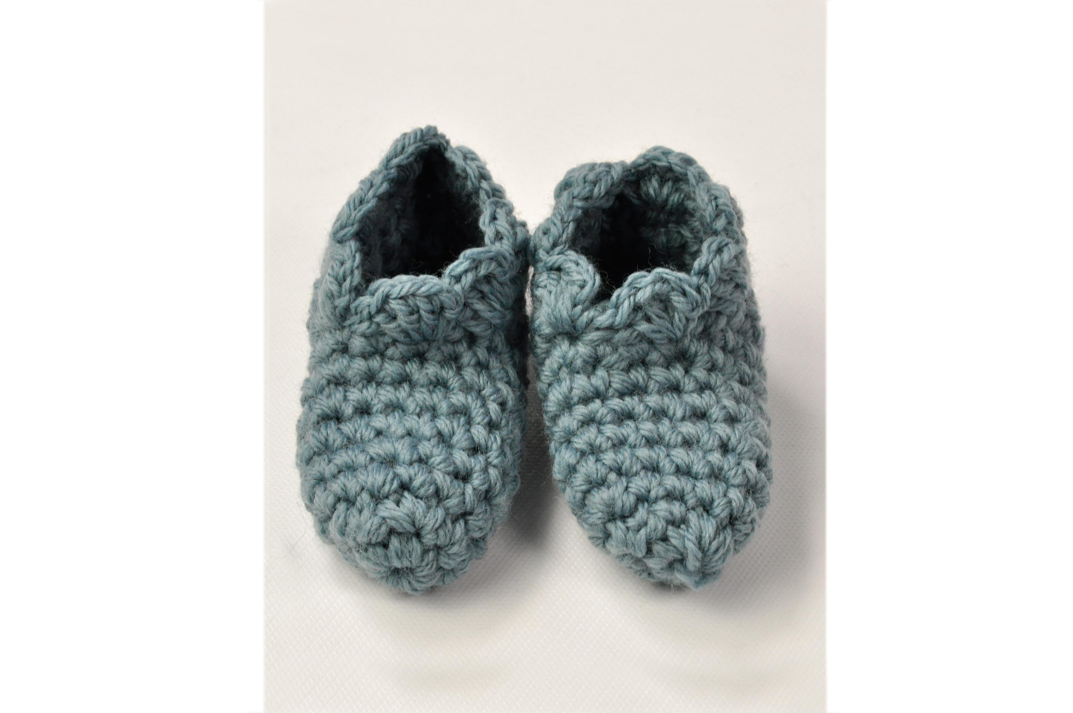KNITTED BY NANA CROCHET BOOTIES - LAKE