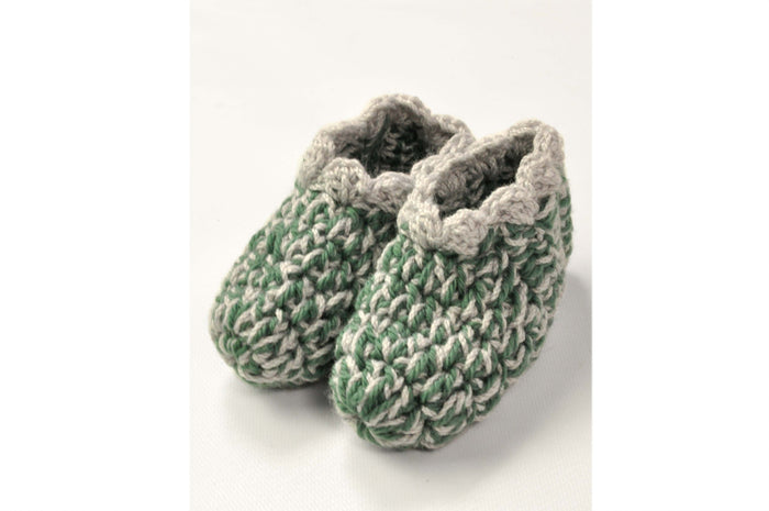KNITTED BY NANA CROCHET BOOTIES - MULTI GREEN