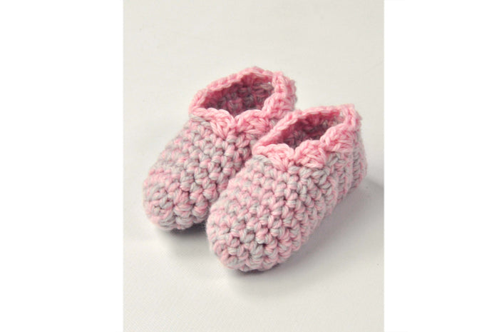KNITTED BY NANA CROCHET BOOTIES - MULTI PINK