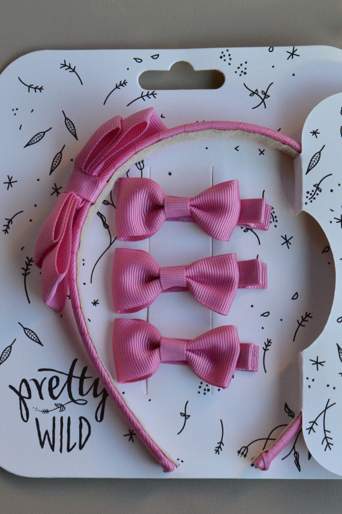ROSIE BOW HEADBAND WITH CLIPS ROSE