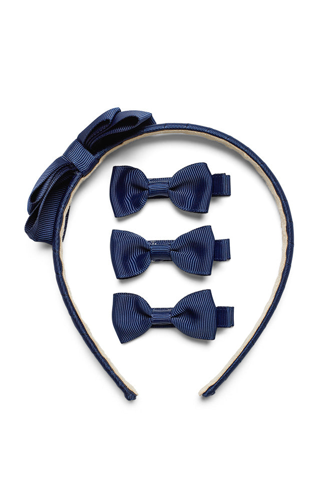 ROSIE BOW HEADBAND AND CLIPS SET- NAVY