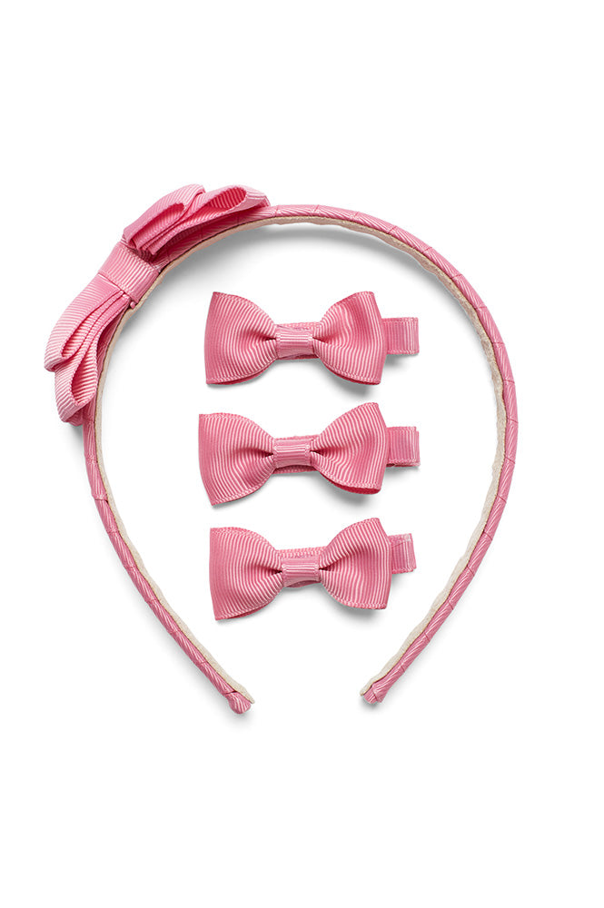Rosie Headband with Clips Set, Pink