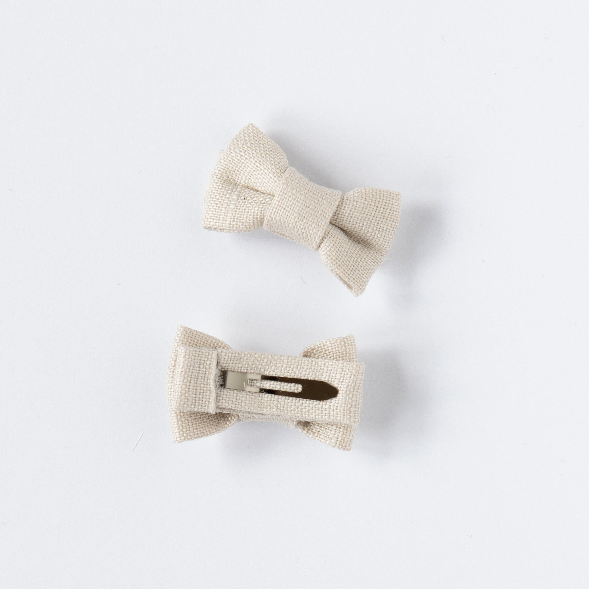 Katie Twin Bow Snaps Natural Linen