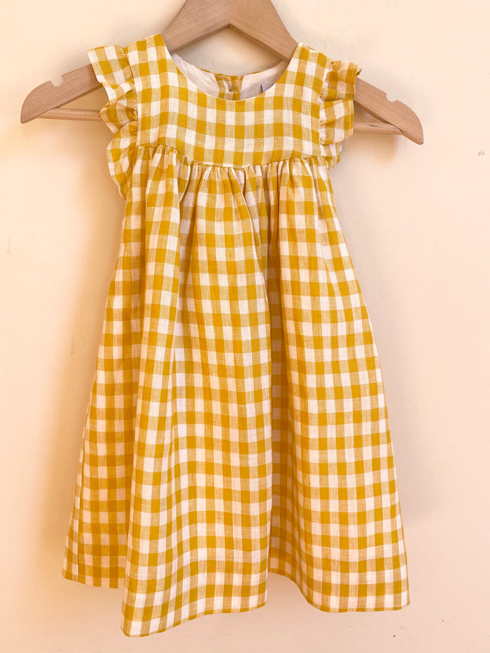 Tia Dress Check Yellow Linen