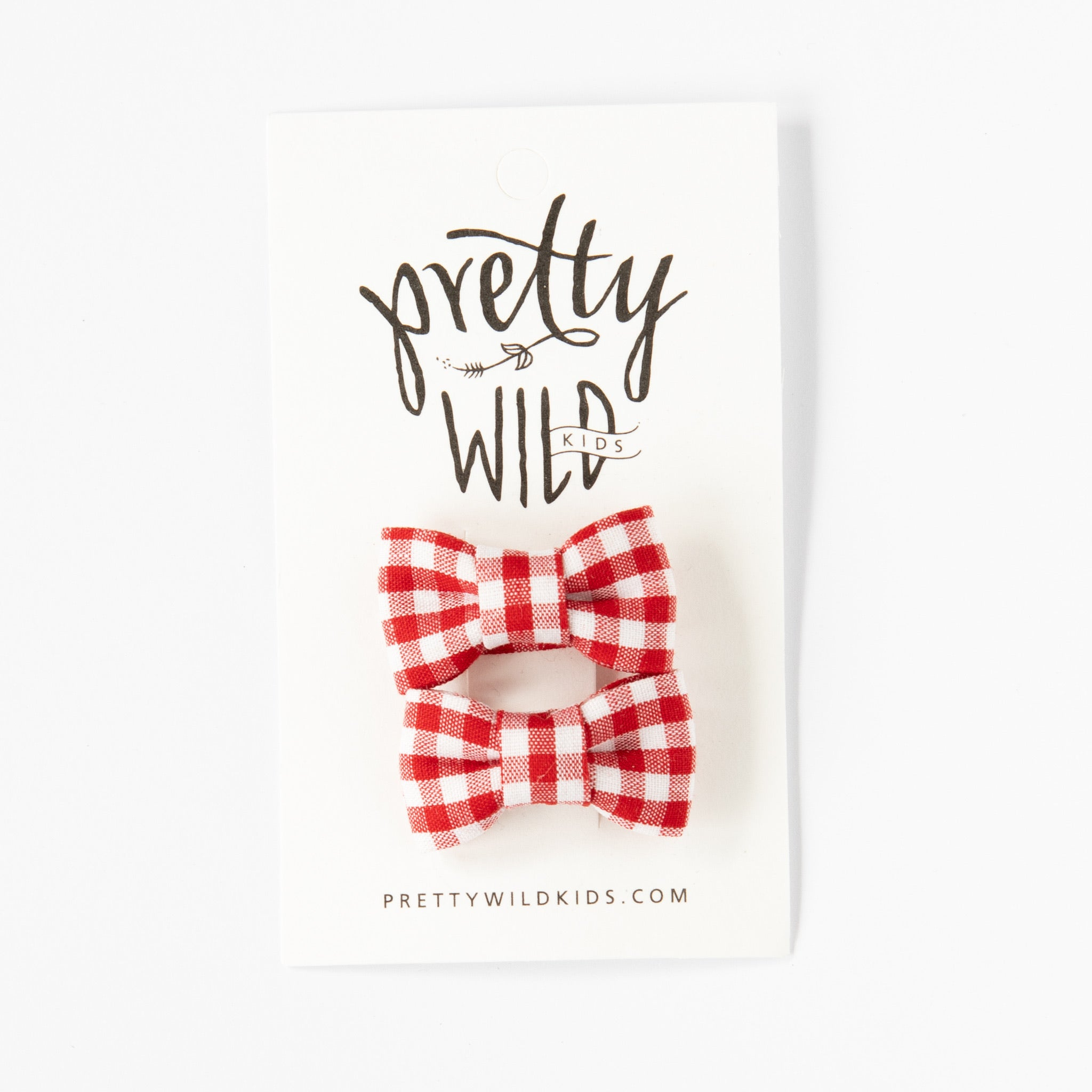 Katie Twin Bow Snaps Red Gingham
