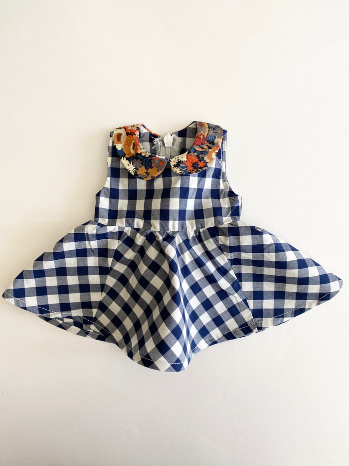 Maria Dolls Dress Navy Gingham with Russet Collar