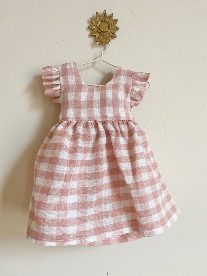 Tia Dress Doll Size Pink Check